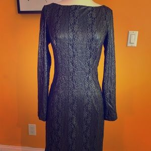 Cache Silver/Black Dress Sz 6